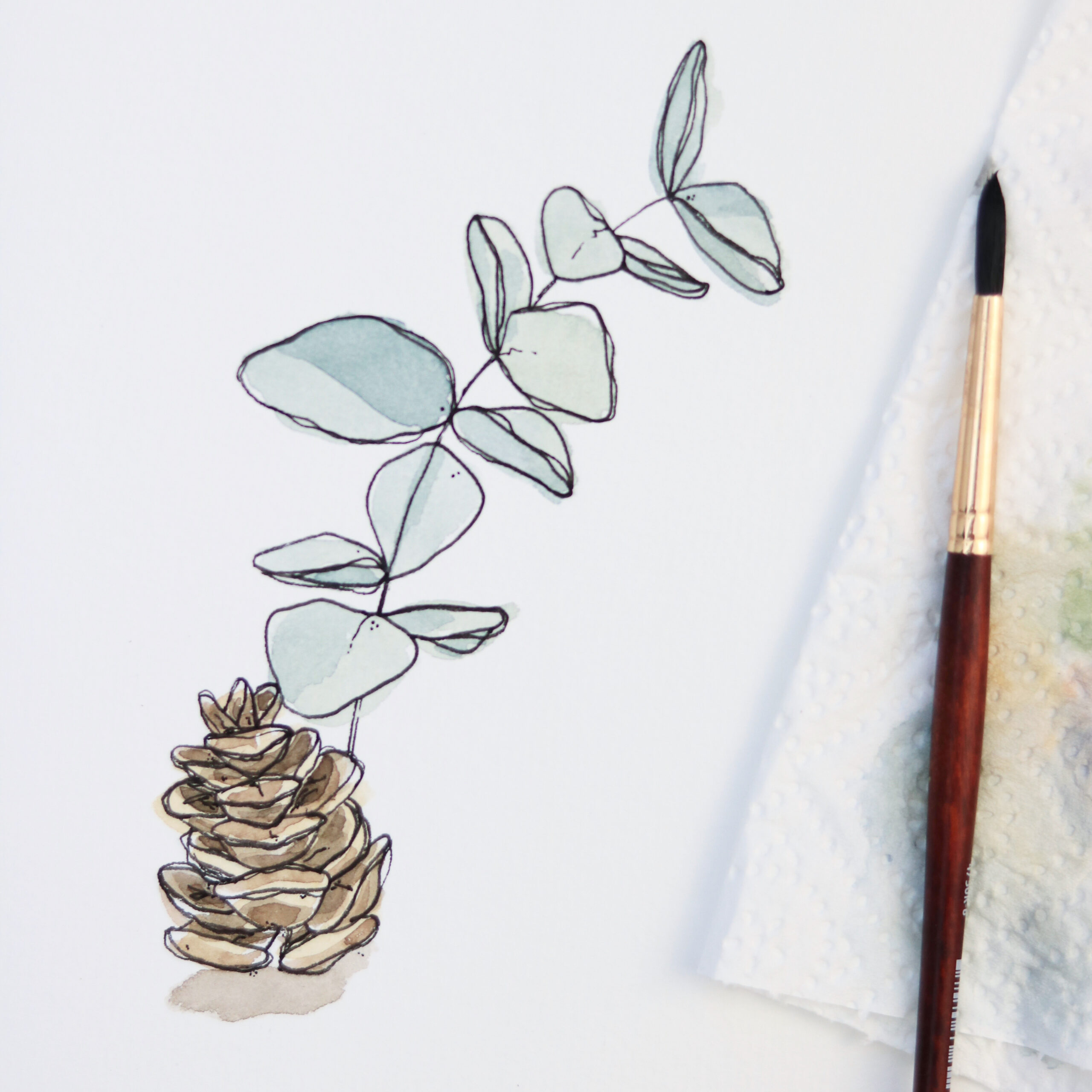 Christmas Watercolor & Ink