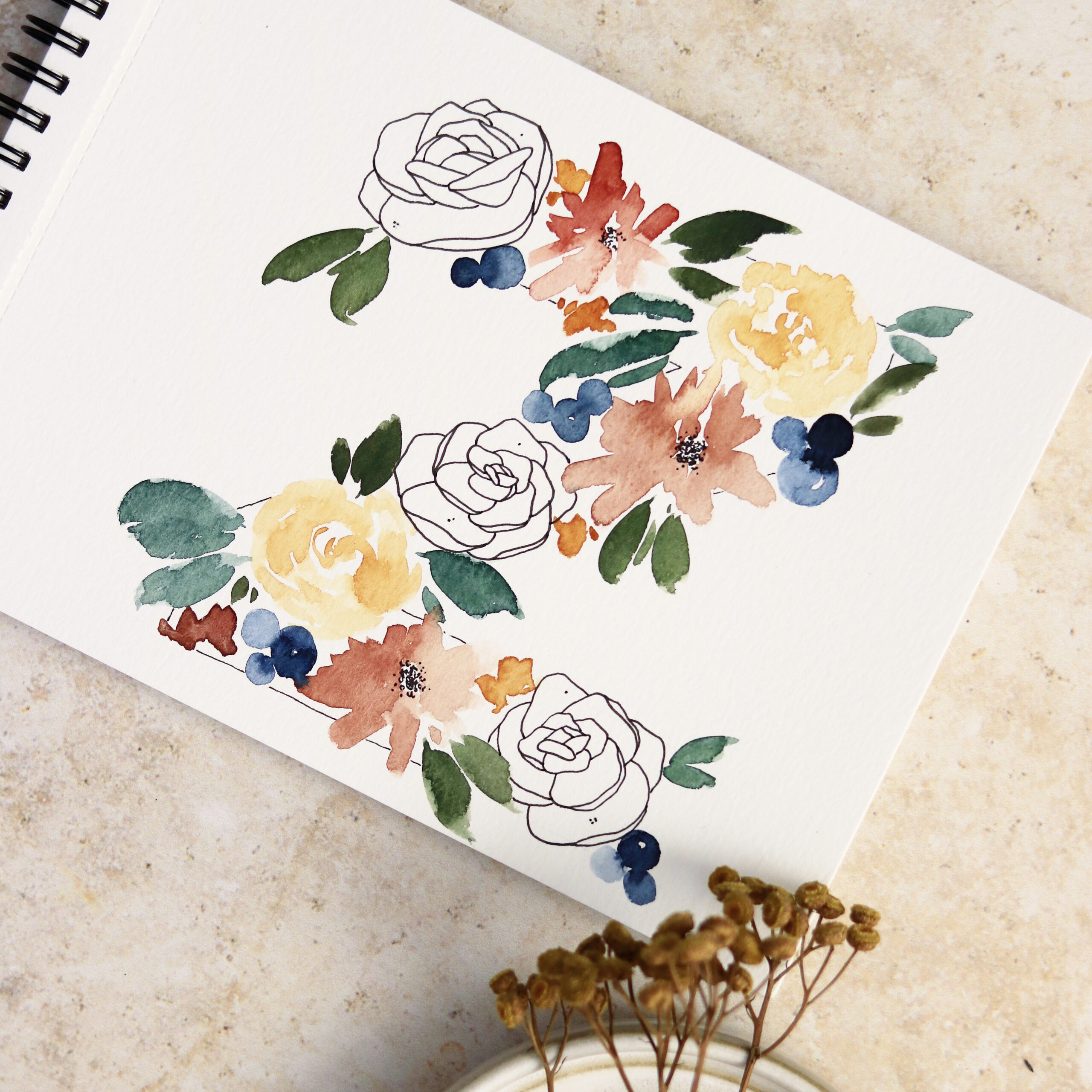 Floral Watercolor & Ink